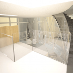 pont oméga - vue de l'escalier vers le bar